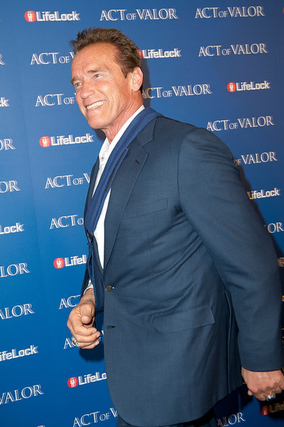 HOLLYWOOD, CA - FEBRUARY 13: Actor and former Governor Arnold Schwarzenegger arrives at the premiere of Relativity Media's 'Act Of Valor' held at ArcLight Cinemas on February 13, 2012 in Hollywood, California. Photo taken by Tom Sorensen/Moovieboy Pictures.