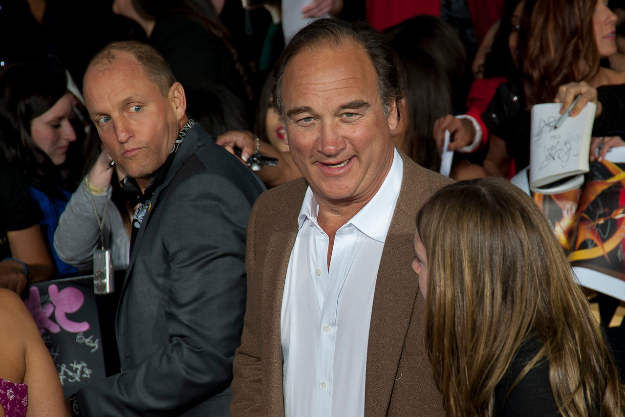 LOS ANGELES, CA - MARCH 12: Actors Woody Harrelson and Jim Belushi at the premiere of Lionsgate's 'The Hunger Games' at Nokia Theatre L.A. Live on Monday, March 12, 2012 in Los Angeles, California. Photo taken by Tom Sorensen/Moovieboy Pictures.