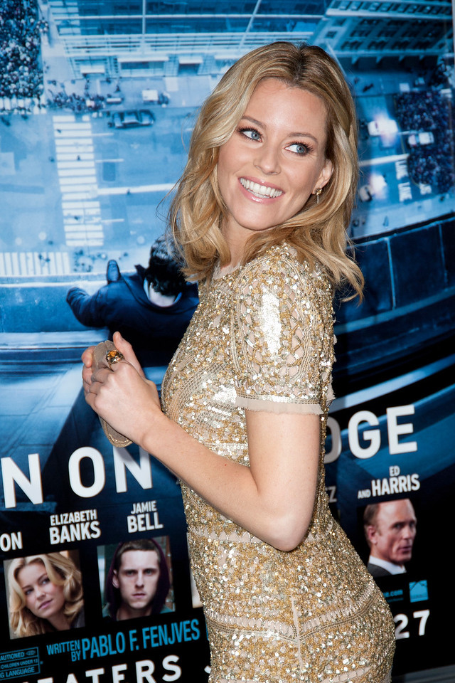 HOLLYWOOD, CA - JANUARY 23: Actress Elizabeth Banks arrives at the Los Angeles premiere of 'Man on a Ledge' at Grauman's Chinese Theatre on January 23, 2012 in Hollywood, California. Photo taken by Tom Sorensen/Moovieboy Pictures.