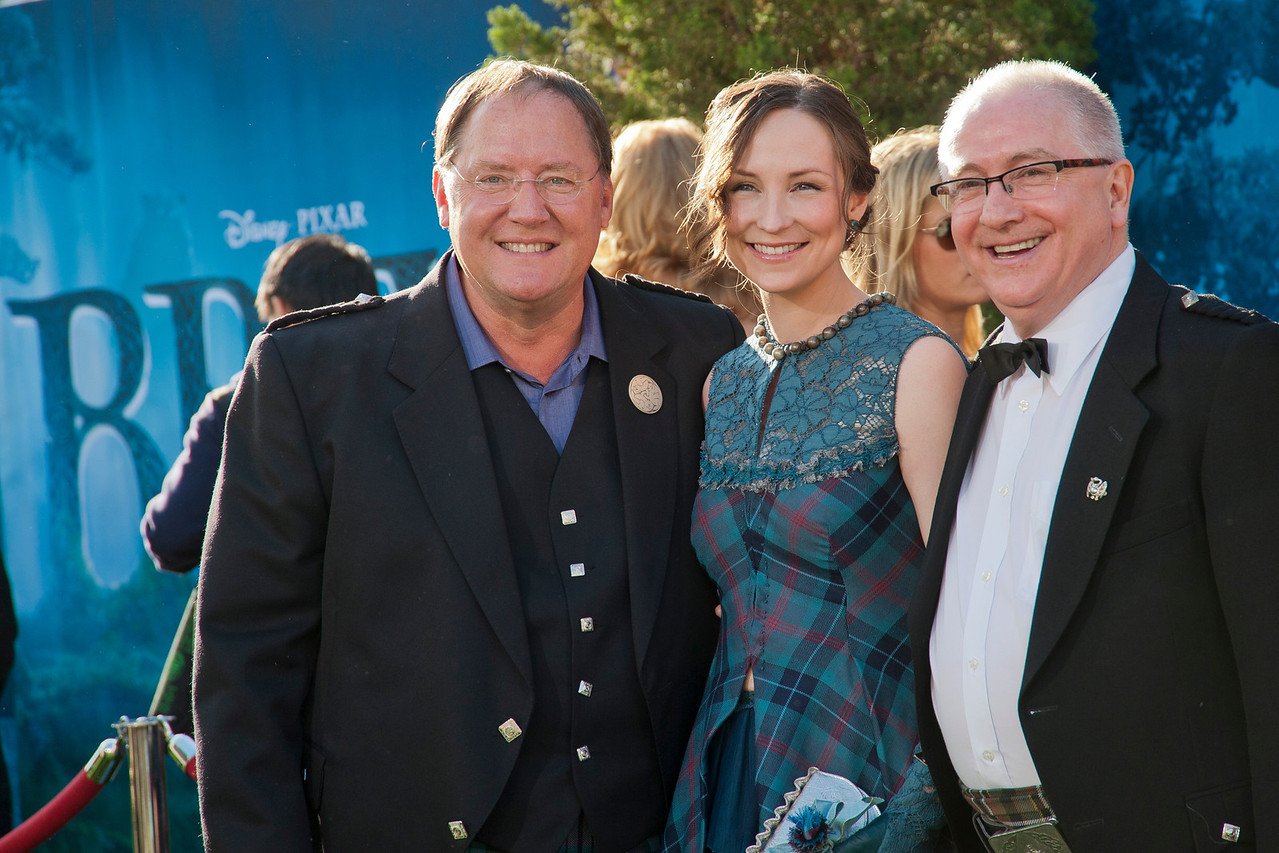 HOLLYWOOD, CA - JUNE 18: Chief Creation Officer of Pixar Animation Studios John Lasseter, singer Julie Fowlis, and composer Patrick Doyle arrive at Disney Pixar's 'Brave' World Premiere at Dolby Theatre on June 18, 2012 in Hollywood, California. (Photo by Tom Sorensen/Moovieboy Pictures)