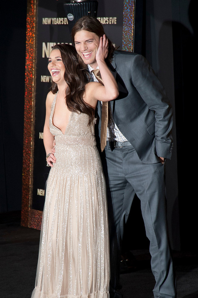 HOLLYWOOD, CA: Actress Lea Michele and Actor Ashton Kutcher arrive at the Premiere of Warner Bros. Pictures' 'New Year's Eve' at Grauman's Chinese Theatre. Photo taken on Monday, December 5, 2011 by Tom Sorensen/Moovieboy Pictures.
