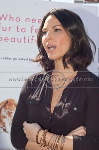 "Munn_1043 Actress Olivia Munn, the latest celebrity to pose nude for PETA's ""Id Rather Go Naked Than Wear Fur"" campaign, unveils her poster and billboard in Los Angeles, CA 11/12/2012.Olivia Munn takes answers from the press regarding her feelings on wearing fur."