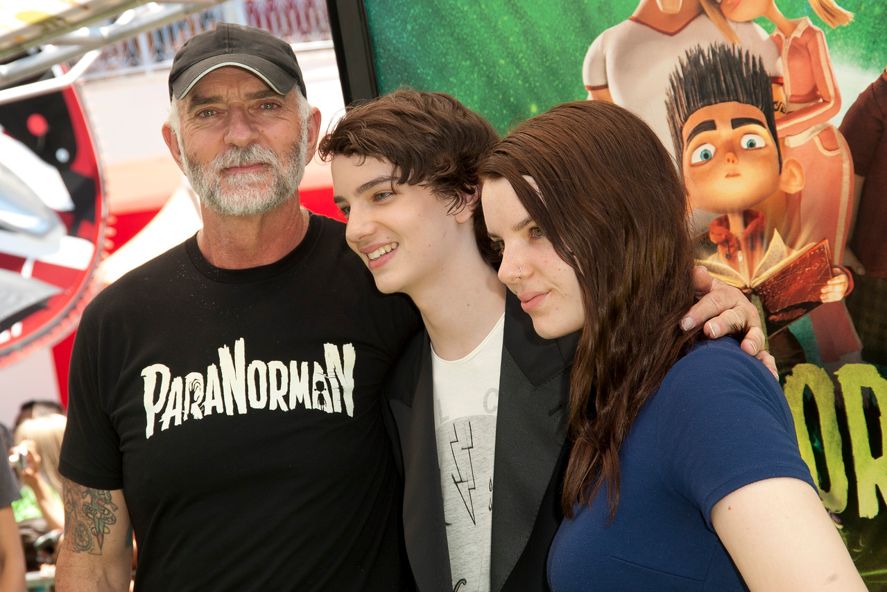 UNIVERSAL CITY, CA - AUGUST 05: Actors Andy McPhee, Kodi Smit-McPhee and Sianoa Smit-McPhee arrive to the premiere of Focus Features' 'ParaNorman' at Universal CityWalk on Sunday, August 5, 2012 in Universal City, California. (Photo by Tom Sorensen/Moovieboy Pictures)