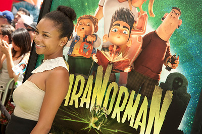 UNIVERSAL CITY, CA - AUGUST 05: Actress Aasha Davis arrives at the premiere of Focus Features' 'ParaNorman' at Universal CityWalk on Sunday, August 5, 2012 in Universal City, California. (Photo by Tom Sorensen/Moovieboy Pictures)