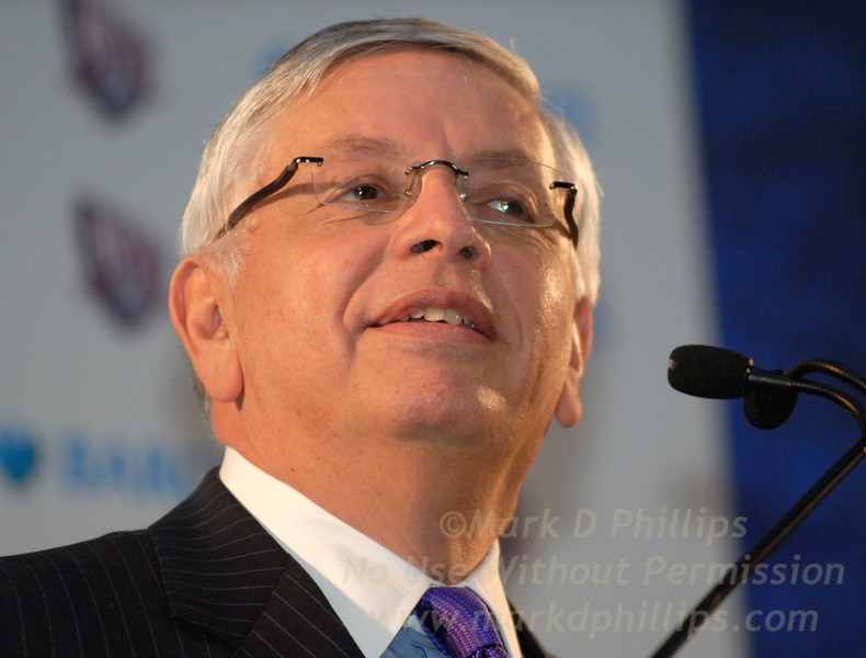 NBA Commissioner David Stern at the Brooklyn Museum on January 18, 2007, during the press conference announcing Barclays purchase of the name rights to Barclays Center at Atlantic Yards.