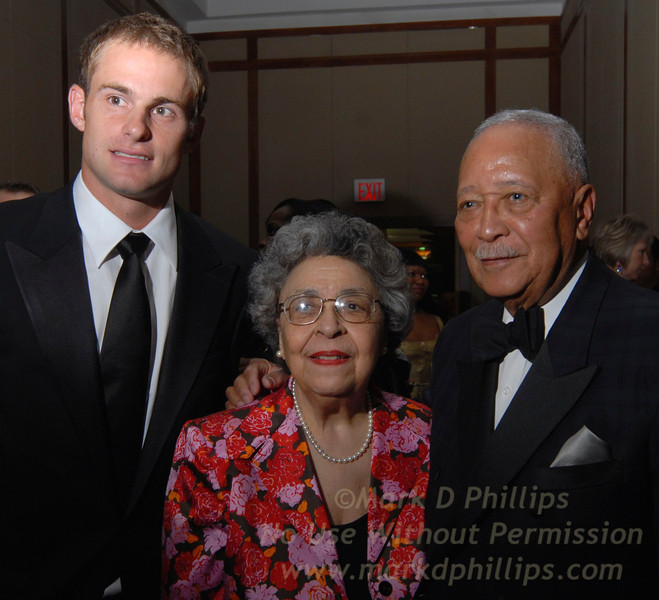 Andy Roddick, Joyce Dinkins, David Dinkins at Sportsball 2007 at Chelsea Piers in New York City