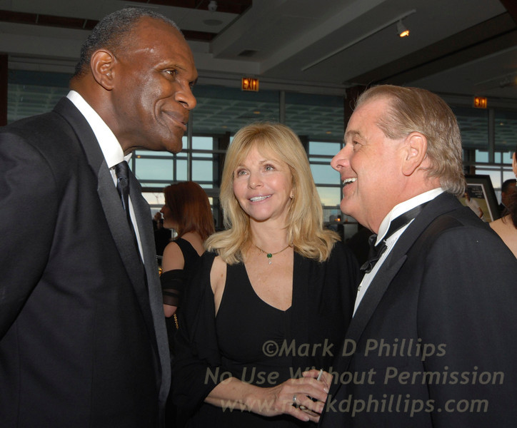 Harry Carson, Judy Christy (Rod's wife) and Rod Gilbert, Sportsball 2007 at Chelsea Piers in New York City