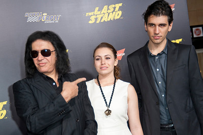 HOLLYWOOD, CA - JANUARY 14: Musician Gene Simmons, Sophie Simmons and Nick Simmons arrive at the premiere of Lionsgate Films' 'The Last Stand' at Grauman's Chinese Theatre on Monday, January 14, 2013 in Hollywood, California. (Photo by Tom Sorensen/Moovieboy Pictures)