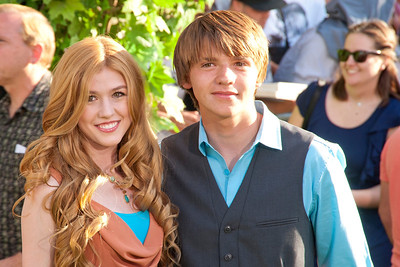 HOLLYWOOD, CA - AUGUST 06: Actress Katherine McNamara (L) and actor Joel Courtney arrive at the 'The Odd Life Of Timothy Green' - Los Angeles Premiere at the El Capitan Theatre on Monday, August 6, 2012 in Hollywood, California. (Photo by Tom Sorensen/Moovieboy Pictures)