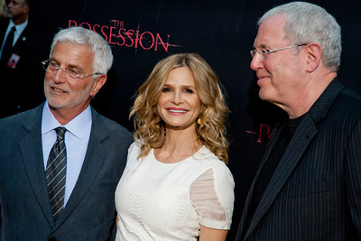 HOLLYWOOD, CA - AUGUST 28: Lionsgate Motion Picture Group co-chairman Rob Friedman, actress Kyra Sedgwick, and Lionsgate president of motion picture production and development Michael Paseornek arrive at the premiere of Lionsgate Films' 'The Possession' at ArcLight Cinemas on Tuesday, August 28, 2012 in Hollywood, California. (Photo by Tom Sorensen/Moovieboy Pictures)