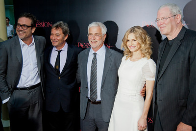 HOLLYWOOD, CA - AUGUST 28: Actor Jeffrey Dean Morgan, Lionsgate Motion Picture Group co-chairman Patrick Wachsberger, Lionsgate Motion Picture Group co-chairman Rob Friedman, actress Kyra Sedgwick, and Lionsgate president of motion picture production and development Michael Paseornek arrive at the premiere of Lionsgate Films' 'The Possession' at ArcLight Cinemas on Tuesday, August 28, 2012 in Hollywood, California. (Photo by Tom Sorensen/Moovieboy Pictures)