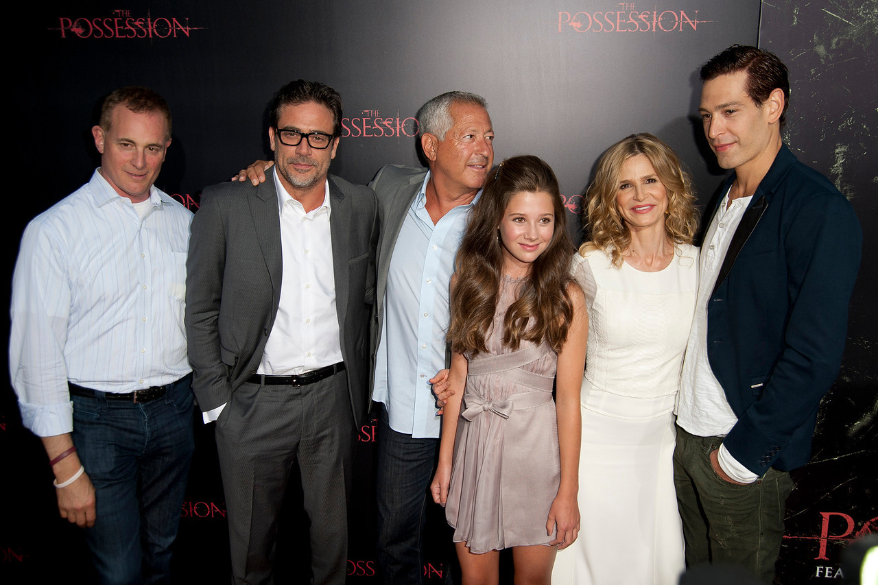 HOLLYWOOD, CA - AUGUST 28: Executive producer Peter Schlessel, actor Jeffrey Dean Morgan, and executive producer Stan Wertlieb, actors Natasha Calis, Kyra Sedgwick, and Matisyahu arrive at the premiere of Lionsgate Films' 'The Possession' at ArcLight Cinemas on Tuesday, August 28, 2012 in Hollywood, California. (Photo by Tom Sorensen/Moovieboy Pictures)