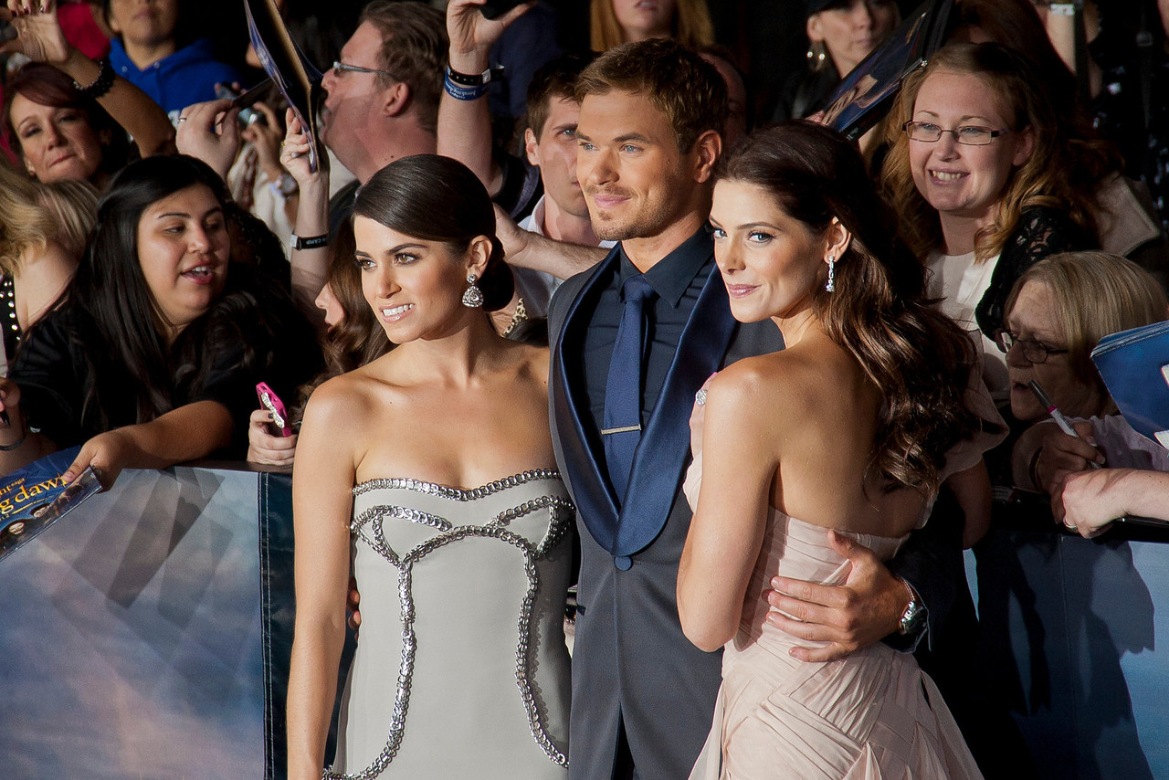 LOS ANGELES, CA - NOVEMBER 12: Actors Nikki Reed, Kellan Lutz and Ashley Greene arrive at the premiere of Summit Entertainment's 'The Twilight Saga: Breaking Dawn - Part 2' at Nokia Theatre L.A. Live on Monday, November 12, 2012 in Los Angeles, California. (Photo by Tom Sorensen/Moovieboy Pictures)