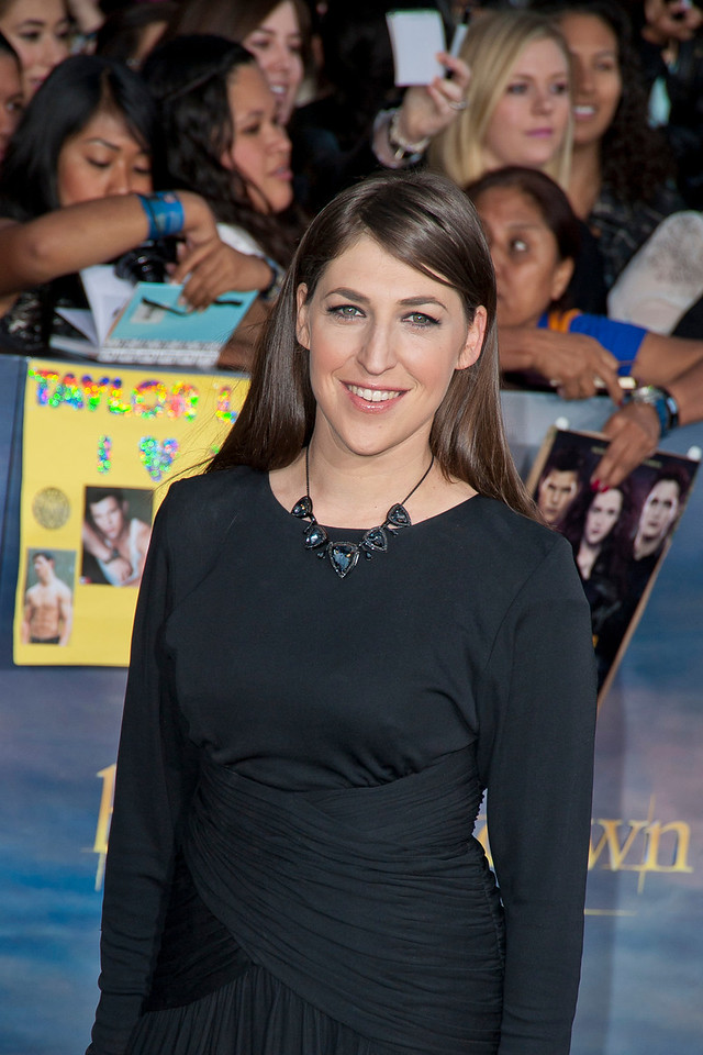 LOS ANGELES, CA - NOVEMBER 12: Actress Mayim Bialik arrives at the premiere of Summit Entertainment's 'The Twilight Saga: Breaking Dawn - Part 2' at Nokia Theatre L.A. Live on Monday, November 12, 2012 in Los Angeles, California. (Photo by Tom Sorensen/Moovieboy Pictures)