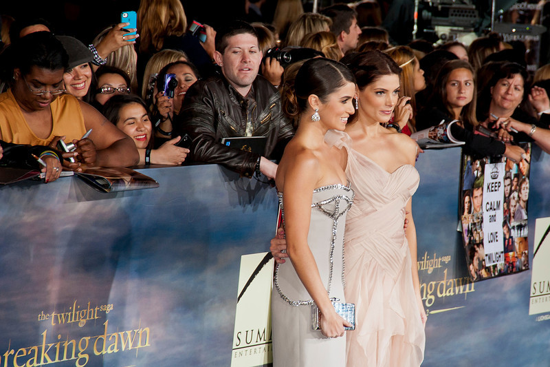 LOS ANGELES, CA - NOVEMBER 12: Actresses Nikki Reed and Ashley Greene arrive at the premiere of Summit Entertainment's 'The Twilight Saga: Breaking Dawn - Part 2' at Nokia Theatre L.A. Live on Monday, November 12, 2012 in Los Angeles, California. (Photo by Tom Sorensen/Moovieboy Pictures)
