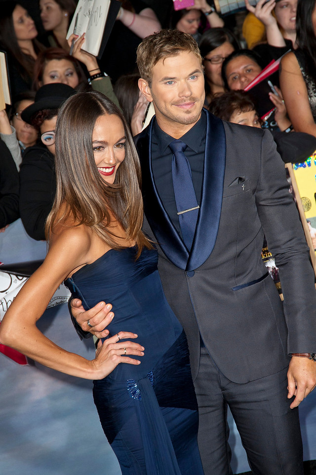 LOS ANGELES, CA - NOVEMBER 12: Model Sharni Vinson (L) and actor Kellan Lutz arrive at the premiere of Summit Entertainment's 'The Twilight Saga: Breaking Dawn - Part 2' at Nokia Theatre L.A. Live on Monday, November 12, 2012 in Los Angeles, California. (Photo by Tom Sorensen/Moovieboy Pictures)