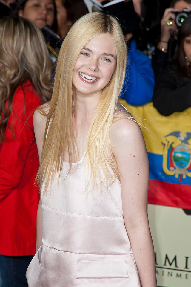 LOS ANGELES, CA - NOVEMBER 12: Actress Elle Fanning arrives at the premiere of Summit Entertainment's 'The Twilight Saga: Breaking Dawn - Part 2' at Nokia Theatre L.A. Live on Monday, November 12, 2012 in Los Angeles, California. (Photo by Tom Sorensen/Moovieboy Pictures)
