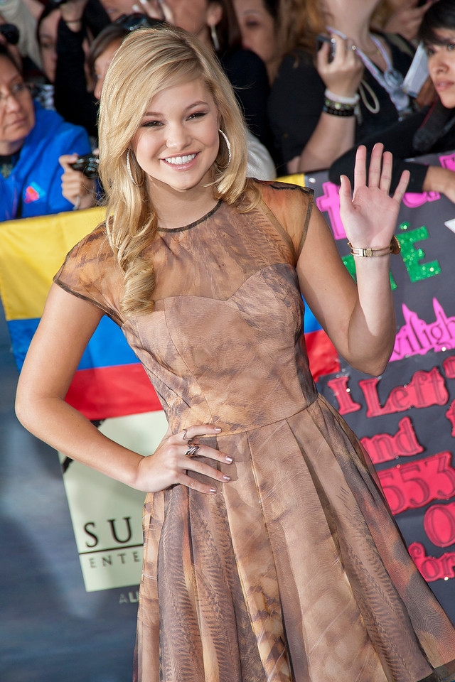 LOS ANGELES, CA - NOVEMBER 12: Actress Olivia Holt arrives at the premiere of Summit Entertainment's 'The Twilight Saga: Breaking Dawn - Part 2' at Nokia Theatre L.A. Live on Monday, November 12, 2012 in Los Angeles, California. (Photo by Tom Sorensen/Moovieboy Pictures)