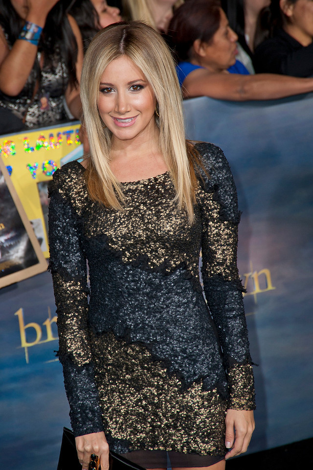 LOS ANGELES, CA - NOVEMBER 12: Actress Ashley Tisdale arrives at the premiere of Summit Entertainment's 'The Twilight Saga: Breaking Dawn - Part 2' at Nokia Theatre L.A. Live on Monday, November 12, 2012 in Los Angeles, California. (Photo by Tom Sorensen/Moovieboy Pictures)
