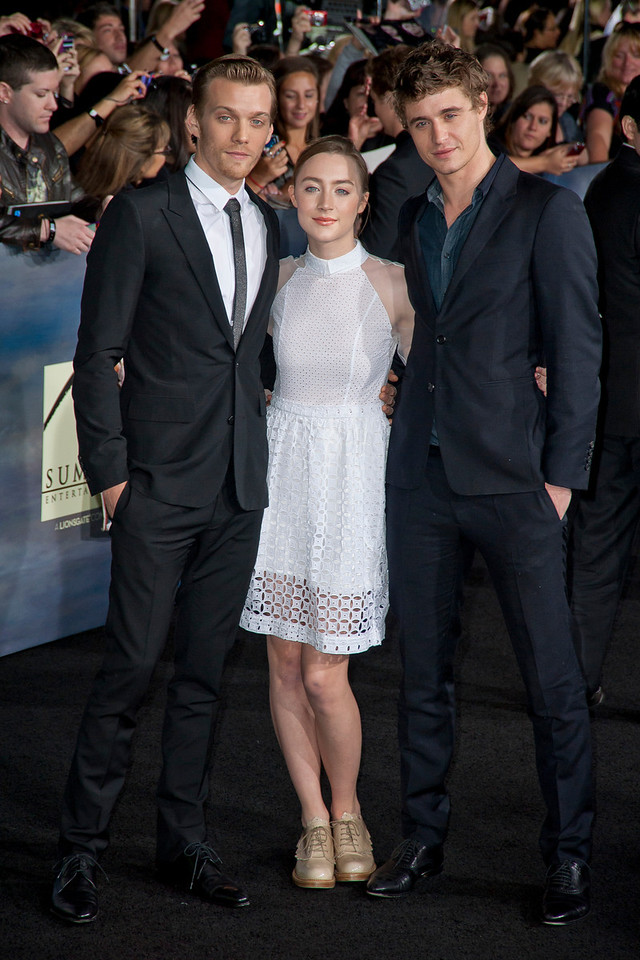 LOS ANGELES, CA - NOVEMBER 12: Jake Abel, Saoirse Ronan and Max Irons arrive at the premiere of Summit Entertainment's 'The Twilight Saga: Breaking Dawn - Part 2' at Nokia Theatre L.A. Live on Monday, November 12, 2012 in Los Angeles, California. (Photo by Tom Sorensen/Moovieboy Pictures)