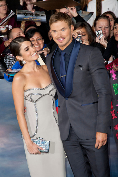 LOS ANGELES, CA - NOVEMBER 12: Actors Nikki Reed and Kellan Lutz arrive at the premiere of Summit Entertainment's 'The Twilight Saga: Breaking Dawn - Part 2' at Nokia Theatre L.A. Live on Monday, November 12, 2012 in Los Angeles, California. (Photo by Tom Sorensen/Moovieboy Pictures)