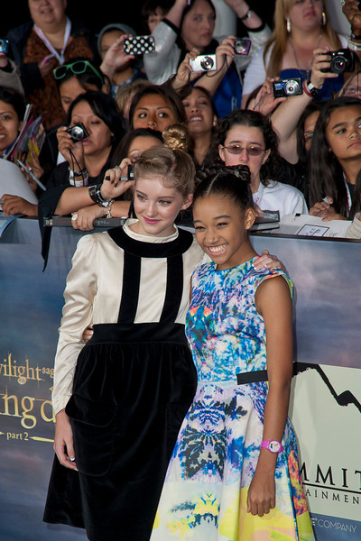 LOS ANGELES, CA - NOVEMBER 12: Actresses Willow Shields and Amanda Stenberg arrive at the premiere of Summit Entertainment's 'The Twilight Saga: Breaking Dawn - Part 2' at Nokia Theatre L.A. Live on Monday, November 12, 2012 in Los Angeles, California. (Photo by Tom Sorensen/Moovieboy Pictures)