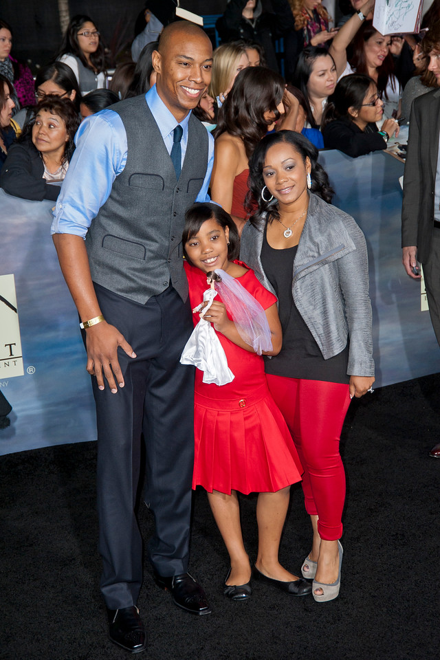 LOS ANGELES, CA - NOVEMBER 12: Basketball player Caron Butler and family arrive at the premiere of Summit Entertainment's 'The Twilight Saga: Breaking Dawn - Part 2' at Nokia Theatre L.A. Live on Monday, November 12, 2012 in Los Angeles, California. (Photo by Tom Sorensen/Moovieboy Pictures)