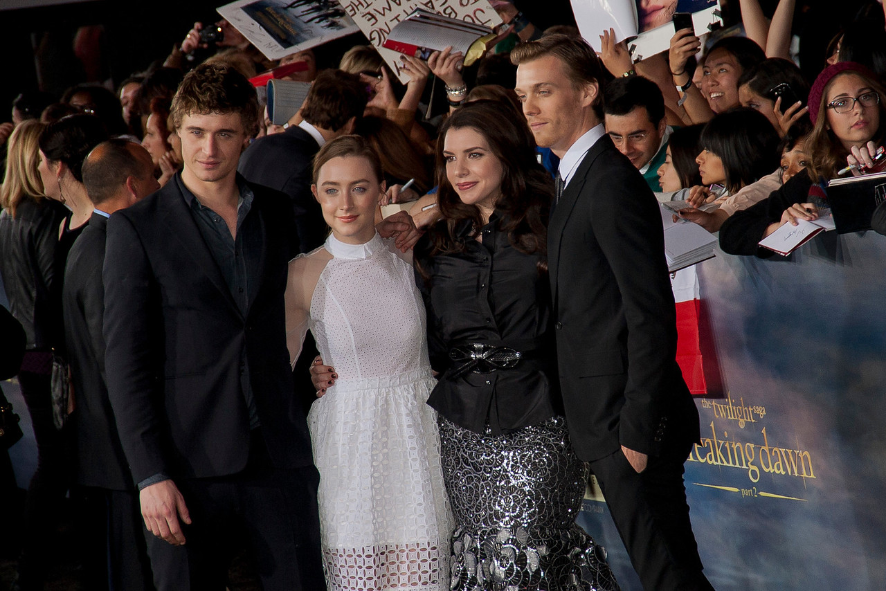 LOS ANGELES, CA - NOVEMBER 12: (L-R) Max Irons, Saoirse Ronan, Stephenie Meyer, and Jake Abel arrive at the premiere of Summit Entertainment's 'The Twilight Saga: Breaking Dawn - Part 2' at Nokia Theatre L.A. Live on Monday, November 12, 2012 in Los Angeles, California. (Photo by Tom Sorensen/Moovieboy Pictures)