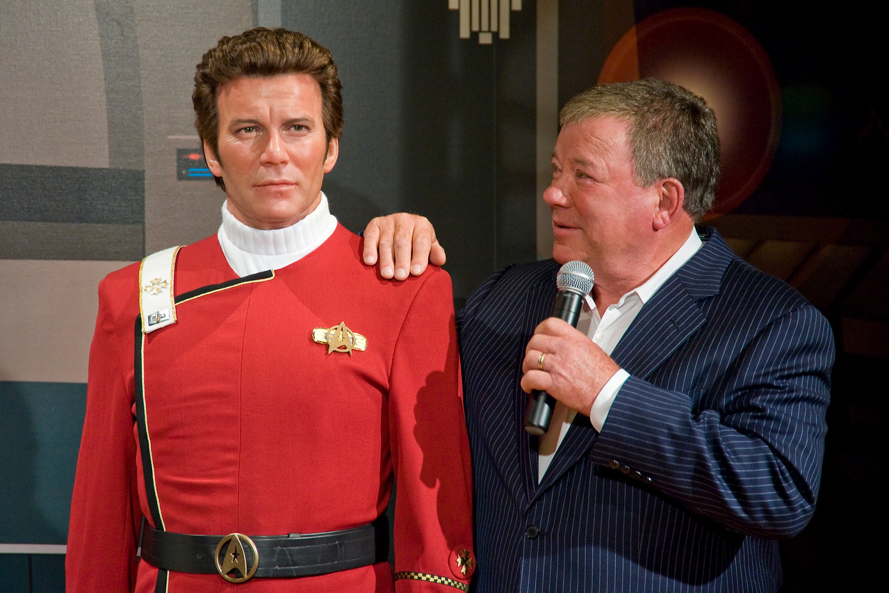 "HOLLYWOOD, CALIFORNIA — Actor William Shatner attends the unveiling of his waxen doppelganger at Madame Tussauds, Hollywood. The figure is his most famous character, Captain James T. Kirk from the film, ""Star Trek II: The Wrath of Khan."""