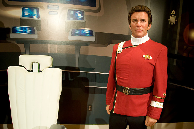 "HOLLYWOOD, CALIFORNIA Ñ Actor William Shatner attends the unveiling of his waxen doppelganger at Madame Tussauds, Hollywood. The figure is his most famous character, Captain James T. Kirk from the film, ""Star Trek II: The Wrath of Khan."""