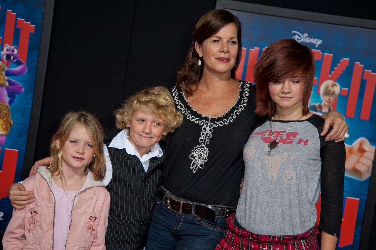 HOLLYWOOD, CA - OCTOBER 29: Actress Marcia Gay Harden and kids at the Premiere Of Walt Disney Animation Studios' 'Wreck-It Ralph' - Red Carpet at the El Capitan Theatre on Monday, October 29, 2012 in Hollywood, California. (Photo by Tom Sorensen/Moovieboy Pictures)
