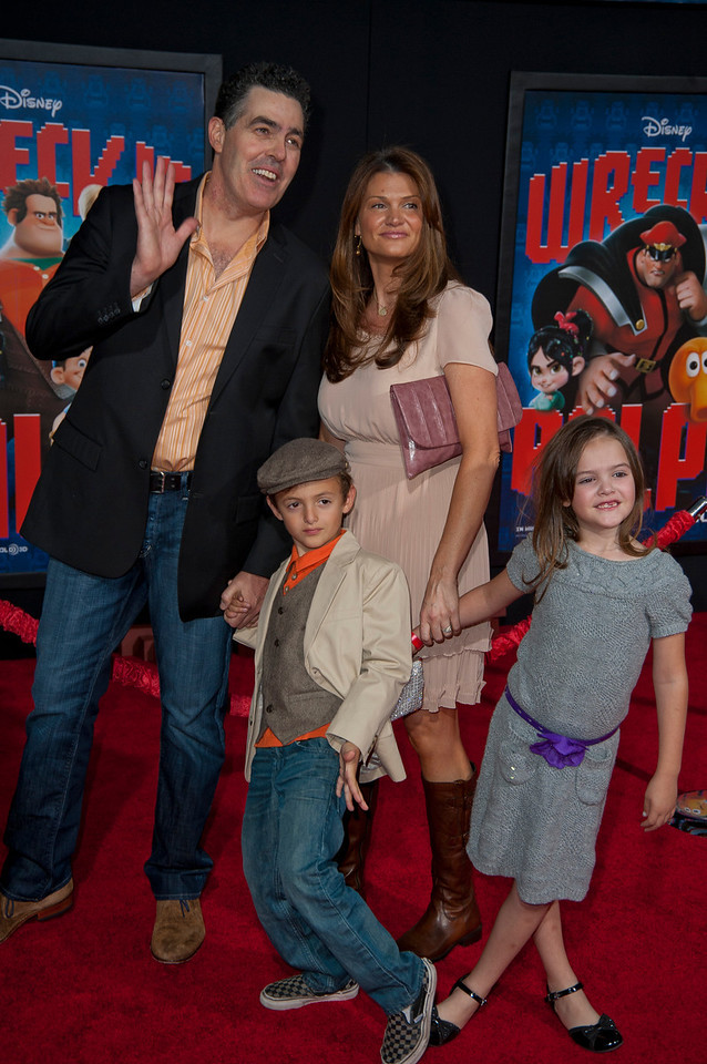 HOLLYWOOD, CA - OCTOBER 29: Actor Adam Carolla and family at the Premiere Of Walt Disney Animation Studios' 'Wreck-It Ralph' - Red Carpet at the El Capitan Theatre on Monday, October 29, 2012 in Hollywood, California. (Photo by Tom Sorensen/Moovieboy Pictures)
