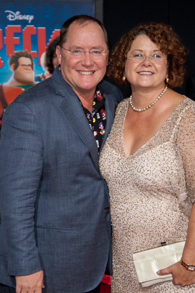 HOLLYWOOD, CA - OCTOBER 29: Executive Producer John Lasseter and Nancy Lasseter at the Premiere Of Walt Disney Animation Studios' 'Wreck-It Ralph' - Red Carpet at the El Capitan Theatre on Monday, October 29, 2012 in Hollywood, California. (Photo by Tom Sorensen/Moovieboy Pictures)