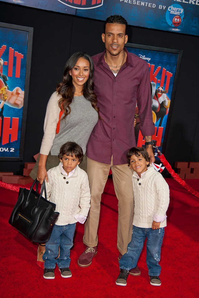 HOLLYWOOD, CA - OCTOBER 29: Matt Barnes and family at the Premiere Of Walt Disney Animation Studios' 'Wreck-It Ralph' - Red Carpet at the El Capitan Theatre on Monday, October 29, 2012 in Hollywood, California. (Photo by Tom Sorensen/Moovieboy Pictures)