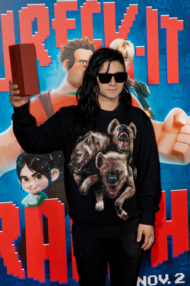 HOLLYWOOD, CA - OCTOBER 29: Electronic musician Skrillex at the Premiere Of Walt Disney Animation Studios' 'Wreck-It Ralph' - Red Carpet at the El Capitan Theatre on Monday, October 29, 2012 in Hollywood, California. (Photo by Tom Sorensen/Moovieboy Pictures)