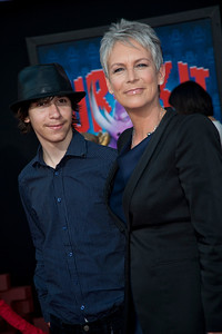 HOLLYWOOD, CA - OCTOBER 29: Actress Jamie Lee Curtis (R) and Thomas Guest at the Premiere Of Walt Disney Animation Studios' 'Wreck-It Ralph' - Red Carpet at the El Capitan Theatre on Monday, October 29, 2012 in Hollywood, California. (Photo by Tom Sorensen/Moovieboy Pictures)