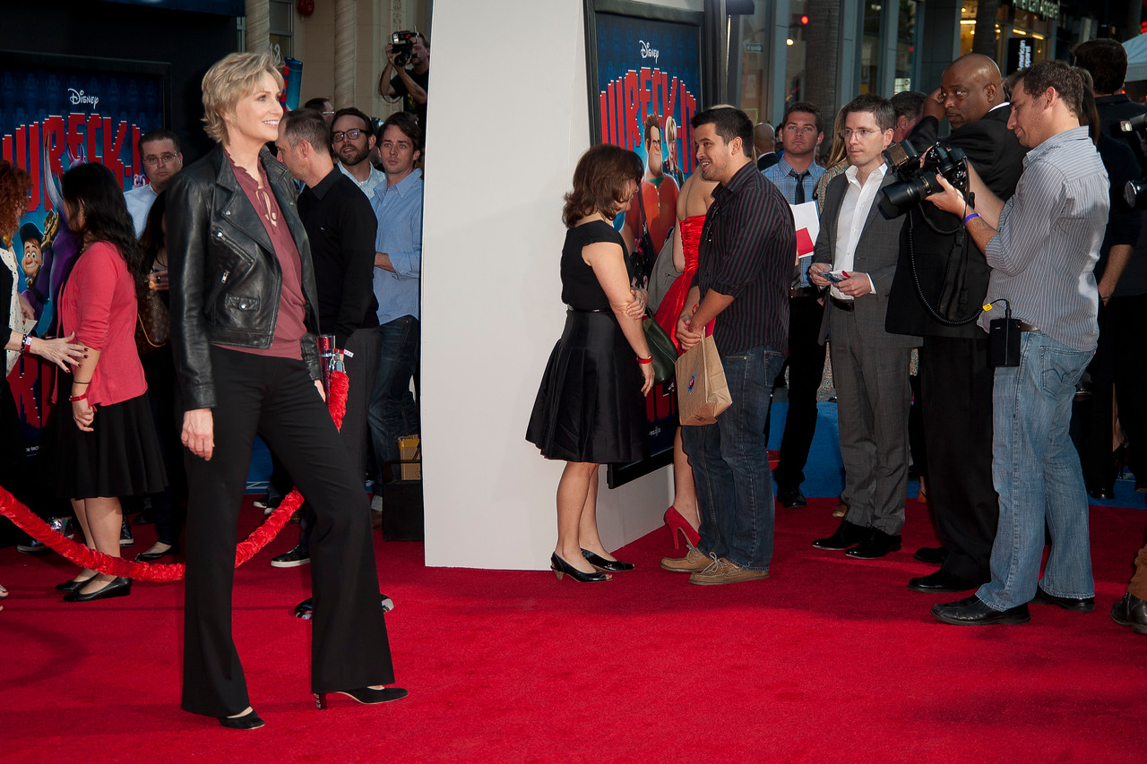 HOLLYWOOD, CA - OCTOBER 29: Actress Jane Lynch at the Premiere Of Walt Disney Animation Studios' 'Wreck-It Ralph' - Red Carpet at the El Capitan Theatre on Monday, October 29, 2012 in Hollywood, California. (Photo by Tom Sorensen/Moovieboy Pictures)