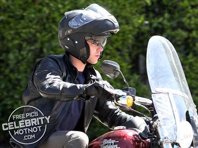 EXC: Nicholas Hoult Riding His Harley Davidson Motorbike