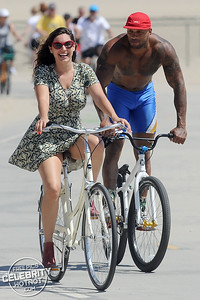 Kelly Brook Shows Off Legs In Extremely Short Dress Cycling In Santa Monica, CA