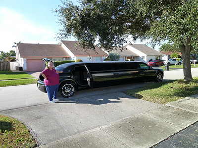 Our limo waiting outside the house