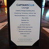 Captain's Club elite lounge cocktail hour menu