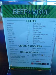 Oceanview cafe bar menu