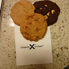 Late night snack from Oceanview cafe: peanut butter, double chocolate, and caramel cookies.