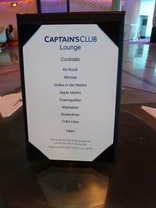 Captain's Club elite lounge cocktail hour menu