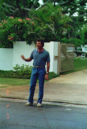 Our first encounter with Tom Selleck was on our way home from the Waikiki Christmas Parade when we lived in Hawaii in 1986. This was outside the house (Robin Masters' estate) they used to film Magnum P.I. Angela Landsbury was the guest star for the episode, but she never came out of her trailer. Tom did come out and talked and joked with us for a little while.