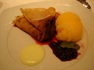 Sugar free banana blueberry crepe, guava sorbet on side