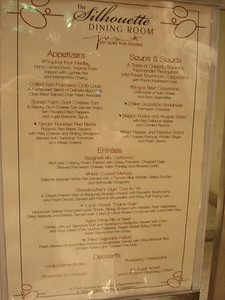 First night's dinner menu