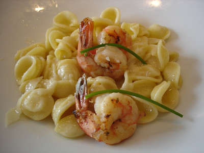 Oriecchiette with shrimp - yum!