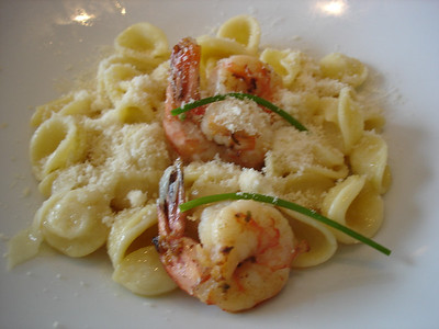 Oriecchiette with shrimp w/ parmesan cheese