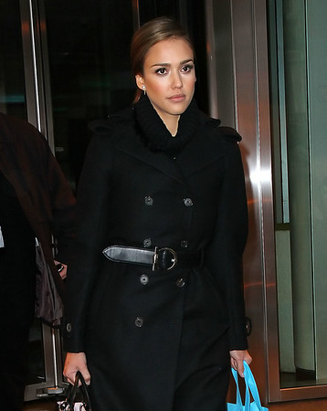 Non-Exclusive<br /> 2012 Jan 18 - Jessica Alba goes to Bliss Spa in NYC. Photo Credit Jackson Lee